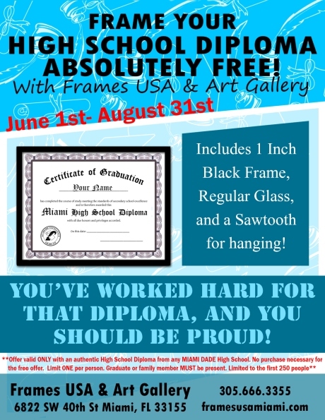 Frame your high school diploma framed for free