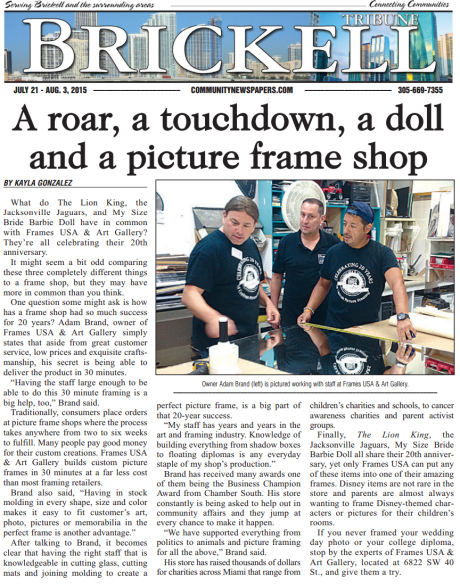 Brickell Tribune Article July 21 2015