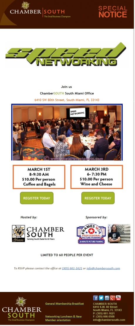 Chamber South Speed Networking 2016